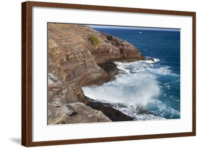 USA, Hawaii, Oahu, Honolulu. Water Shoots from Spitting Cave at Kawaihoa Point-Charles Crust-Framed Photographic Print