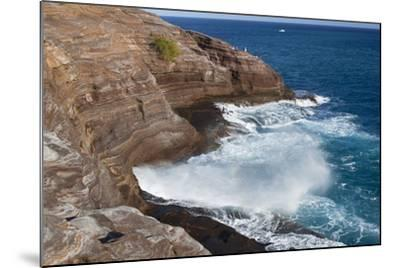 USA, Hawaii, Oahu, Honolulu. Water Shoots from Spitting Cave at Kawaihoa Point-Charles Crust-Mounted Photographic Print