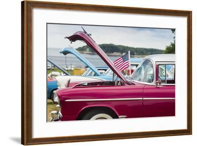 USA, Massachusetts, Cape Ann, Gloucester, Antique Car Show, Car Detail-Walter Bibikow-Framed Photographic Print