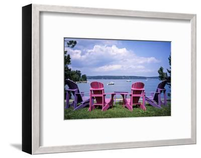 Canada, Nova Scotia, Mahone Bay, Colorful Adirondack Chairs Overlook the Calm Bay-Ann Collins-Framed Photographic Print