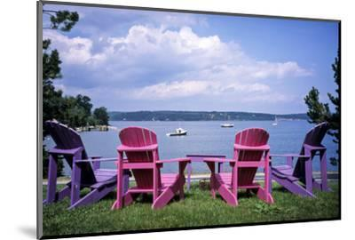 Canada, Nova Scotia, Mahone Bay, Colorful Adirondack Chairs Overlook the Calm Bay-Ann Collins-Mounted Photographic Print