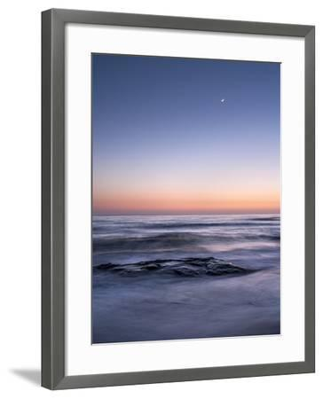 USA, California, La Jolla. Crescent Moon at Twilight over Windansea Beach-Ann Collins-Framed Photographic Print