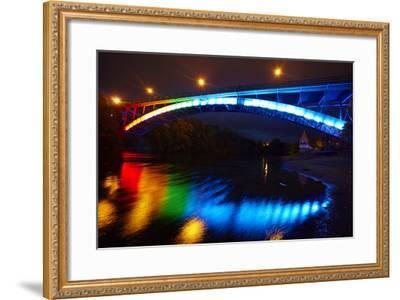 Historic Victoria Bridge at Night, Waikato River, Hamilton, Waikato, North Island, New Zealand-David Wall-Framed Photographic Print