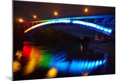 Historic Victoria Bridge at Night, Waikato River, Hamilton, Waikato, North Island, New Zealand-David Wall-Mounted Photographic Print