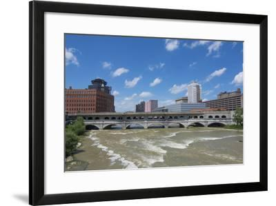 Rochester, New York, Beautiful Genesee River and Downtown Skyline on Main Street Brown Water River-Bill Bachmann-Framed Photographic Print