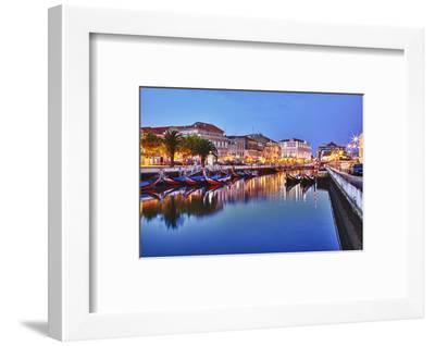 Portugal, Aveiro, Moliceiro Boats Along the Main Canal of Aveiro-Terry Eggers-Framed Photographic Print