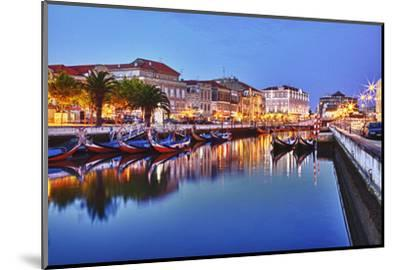 Portugal, Aveiro, Moliceiro Boats Along the Main Canal of Aveiro-Terry Eggers-Mounted Photographic Print