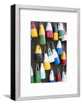 Bar Harbor, Maine, Colorful Buoys on Wall for Sale and State Specialty Souvenirs for Lobster Traps-Bill Bachmann-Framed Photographic Print