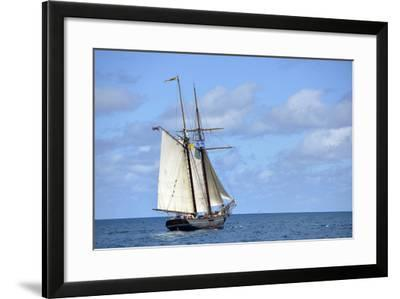 British Virgin Islands, Jost Van Dyke. Freedom Schooner Amistad under Sail-Kevin Oke-Framed Photographic Print