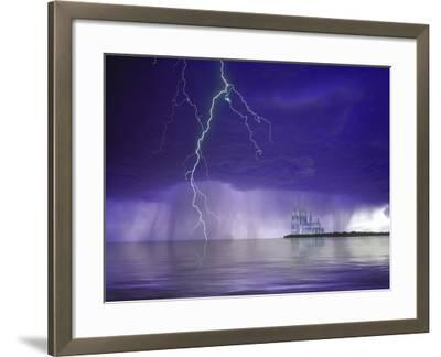 Composite of Fantasy Cathedral, Lightning and Water-Jaynes Gallery-Framed Photographic Print