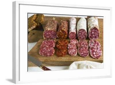 Different Type of Tuscan Salami, Tuscany, Italy-Nico Tondini-Framed Photographic Print