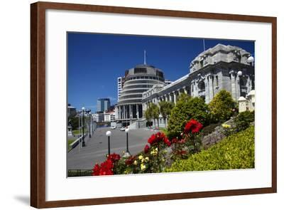 The Beehive and Parliament House, Wellington, North Island, New Zealand-David Wall-Framed Photographic Print