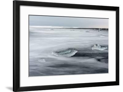 Icebergs on Black Volcanic Beach. Beach Near the Glacial Lagoon Jokulsarlon-Martin Zwick-Framed Photographic Print