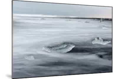 Icebergs on Black Volcanic Beach. Beach Near the Glacial Lagoon Jokulsarlon-Martin Zwick-Mounted Photographic Print