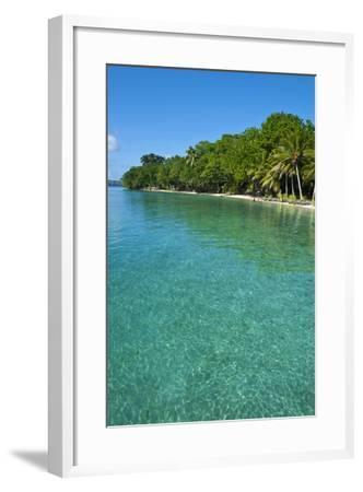 Beach at the Aore Islet before the Island of Espiritu Santo, Vanuatu, South Pacific-Michael Runkel-Framed Photographic Print