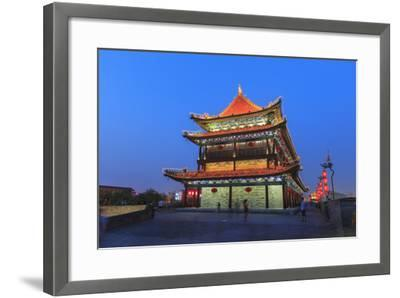 Night Lighting and Glowing Lanterns, Views from Atop City Wall, Xi'An, China-Stuart Westmorland-Framed Photographic Print