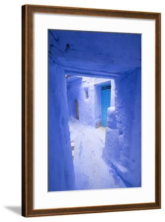 Morocco, Chaouen. Narrow Street Lined with Blue Buildings-Emily Wilson-Framed Photographic Print