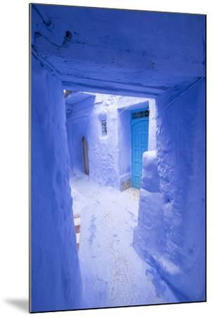 Morocco, Chaouen. Narrow Street Lined with Blue Buildings-Emily Wilson-Mounted Photographic Print