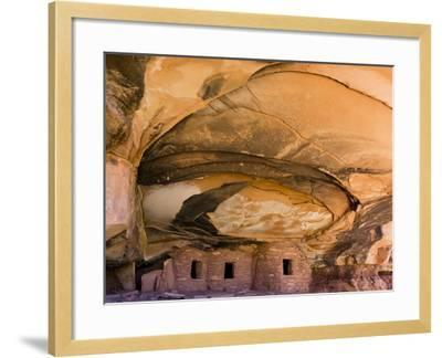 USA, Utah, Blanding. Fallen Roof Ruin in Road Canyon on Cedar Mesa-Charles Crust-Framed Photographic Print