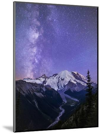 Washington, White River Valley Looking Toward Mt. Rainier on a Starlit Night with the Milky Way-Gary Luhm-Mounted Photographic Print