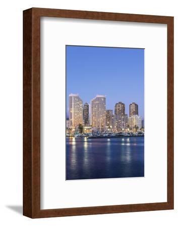 Hawaii, Honolulu, Twilight Waikiki Skyline-Rob Tilley-Framed Photographic Print