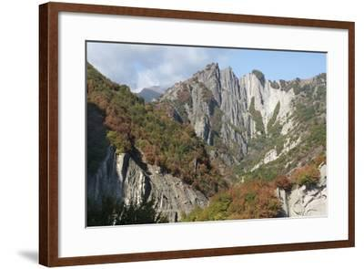 Azerbaijan, Sheki. A Rocky Cliffside Outside of Sheki-Alida Latham-Framed Photographic Print
