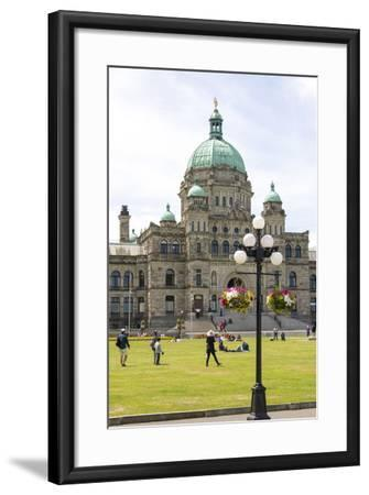 Canada, British Columbia, Victoria. Tourists on Lawn in Front of Parliament Building-Trish Drury-Framed Photographic Print