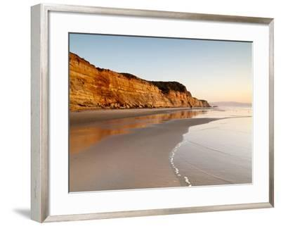 USA, California, La Jolla. Low Tide Cliff Reflections at Torrey Pines State Beach-Ann Collins-Framed Photographic Print
