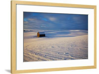 USA, Idaho, Small Barn in Snow Covered Field-Terry Eggers-Framed Photographic Print