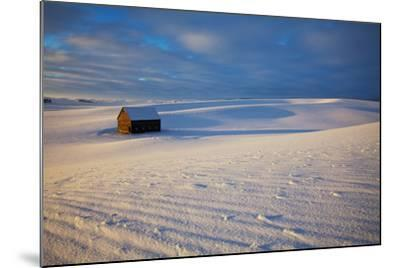 USA, Idaho, Small Barn in Snow Covered Field-Terry Eggers-Mounted Photographic Print