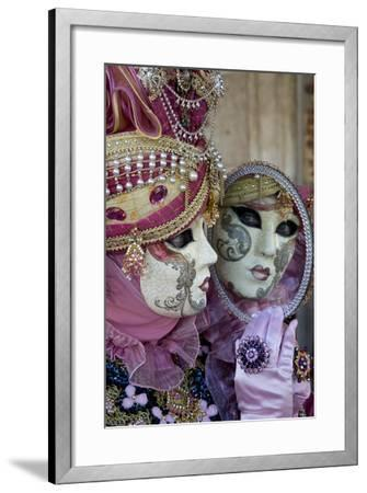 Reflection in Mirror Venice at Carnival Time, Italy-Darrell Gulin-Framed Photographic Print