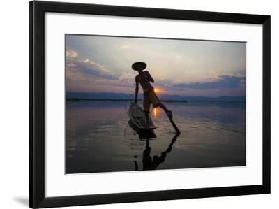 Myanmar, Inle Lake. Fisherman Rowing at Sunset-Jaynes Gallery-Framed Photographic Print