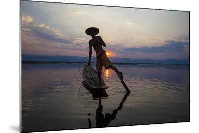 Myanmar, Inle Lake. Fisherman Rowing at Sunset-Jaynes Gallery-Mounted Photographic Print