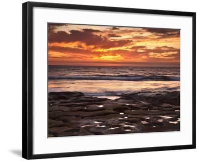 USA, California, La Jolla. Sunset over Tide Pools at Coast Blvd. Park-Ann Collins-Framed Photographic Print