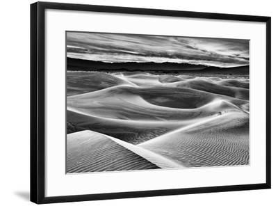 USA, California, Death Valley National Park, Dawn over Mesquite Flat Dunes in Black and White-Ann Collins-Framed Photographic Print
