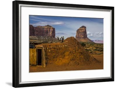 Native American Hogan's and Mitchell Butte in Monument Valley Tribal Park of the Navajo Nation, Az-Jerry Ginsberg-Framed Photographic Print