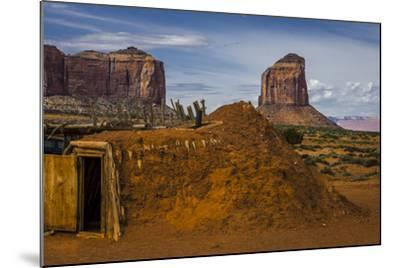 Native American Hogan's and Mitchell Butte in Monument Valley Tribal Park of the Navajo Nation, Az-Jerry Ginsberg-Mounted Photographic Print