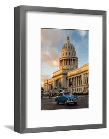 Cuba, Havana, Capitol and Classic Car in Historic Old Havana District-John and Lisa Merrill-Framed Photographic Print