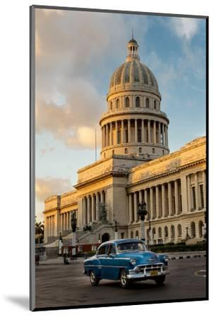 Cuba, Havana, Capitol and Classic Car in Historic Old Havana District-John and Lisa Merrill-Mounted Photographic Print