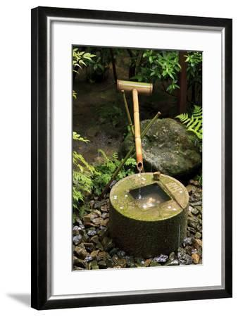 A Stone Water Basin in the Grounds of Ryoan-Ji Temple, Kyoto, Japan-Paul Dymond-Framed Photographic Print