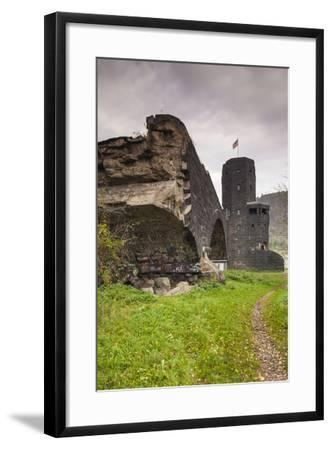 Germany, Rhineland-Pfalz, Remagen, Ruins of the Bridge at Remagen-Walter Bibikow-Framed Photographic Print