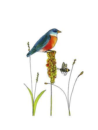 Bluebird on Seeds-Blenda Tyvoll-Framed Giclee Print