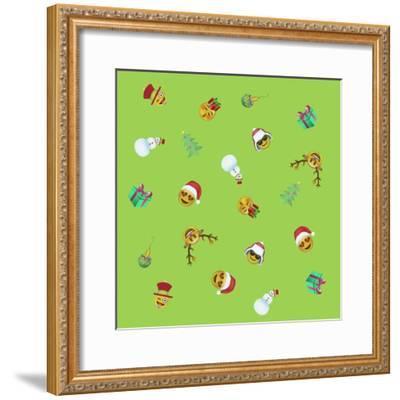 Xmas Emojis Mini Scramble-Ali Lynne-Framed Giclee Print