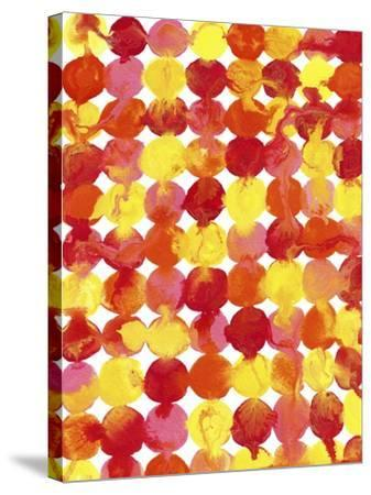 Pink Yellow Red Orange Flowing Paint-Amy Vangsgard-Stretched Canvas Print