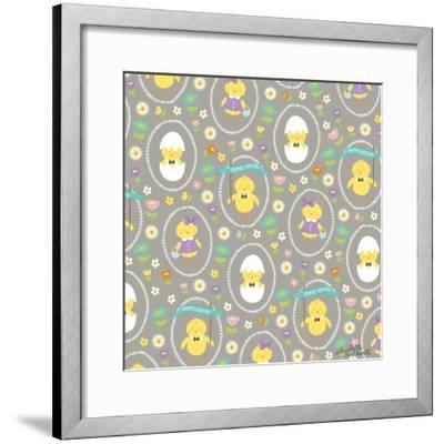 Happy Easter Chicks-Elizabeth Caldwell-Framed Giclee Print