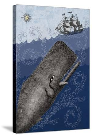 Whale and Ship 3F-Erin Clark-Stretched Canvas Print