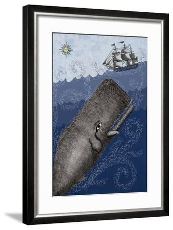 Whale and Ship 3F-Erin Clark-Framed Giclee Print