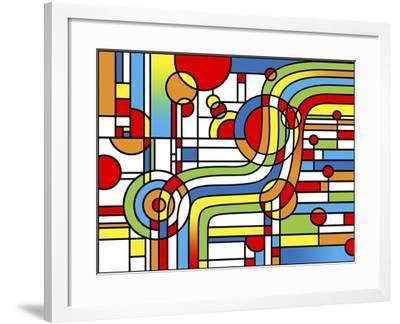 Pop Art Stripes Curve-Howie Green-Framed Giclee Print