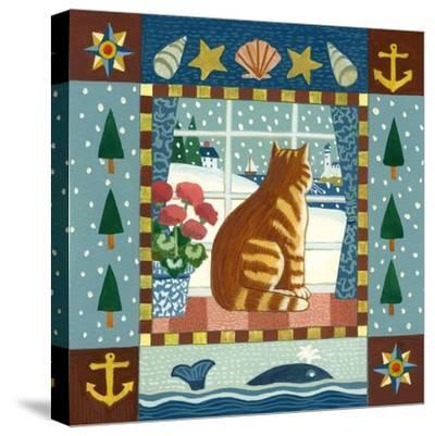 Folk Art Cat Winter-Geraldine Aikman-Stretched Canvas Print