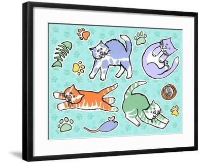 Fun Kitties Pawprints-Geraldine Aikman-Framed Giclee Print